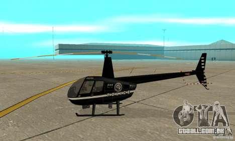 Robinson R44 Raven II NC 1.0 preto para GTA San Andreas traseira esquerda vista