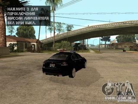 Pontiac G8 GXP Police v2 para GTA San Andreas traseira esquerda vista