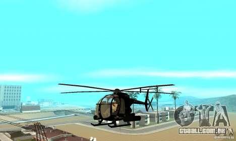 AH-6C Little Bird para GTA San Andreas vista interior