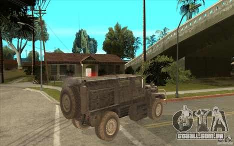 Military Truck para GTA San Andreas vista traseira