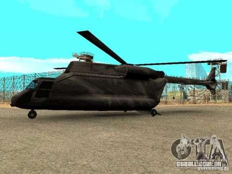 New Cargobob para GTA San Andreas esquerda vista