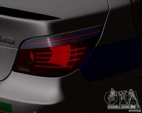 BMW M5 E60 polícia para GTA San Andreas vista traseira
