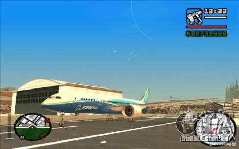 Boeing 787 Dreamlinear para GTA San Andreas esquerda vista