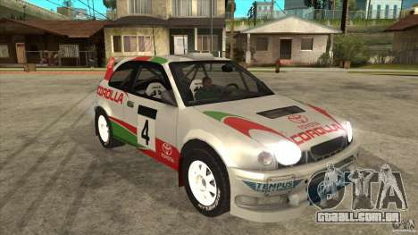 Toyota Corolla 1999 Rally Champion para vista lateral GTA San Andreas