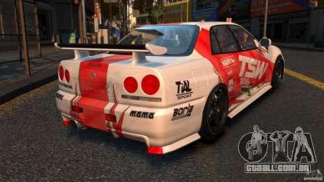 Nissan Skyline ER34 Nismo Z Tune para GTA 4 traseira esquerda vista