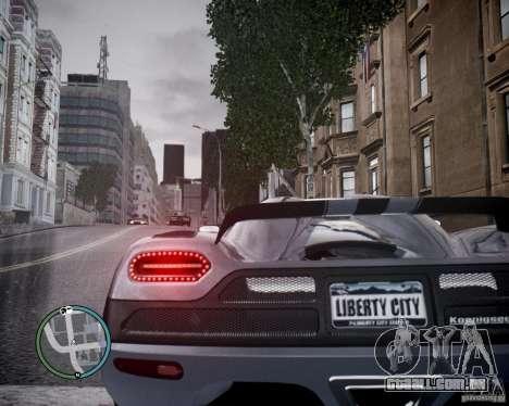Koenigsegg Agera para GTA 4 traseira esquerda vista