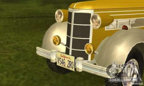 Ford DeLuxe Fordor Sedan V8 1938 para GTA San Andreas traseira esquerda vista