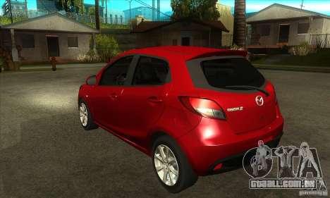 Mazda 2 2011 para GTA San Andreas traseira esquerda vista