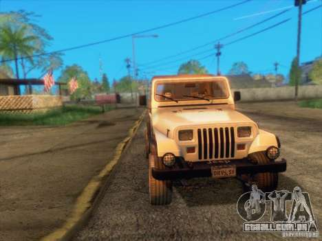 Jeep Wrangler 1994 para vista lateral GTA San Andreas