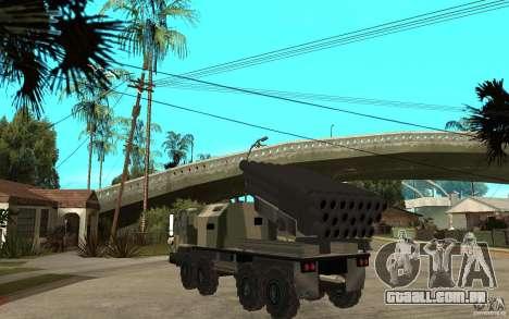 Missile Launcher Truck para GTA San Andreas traseira esquerda vista