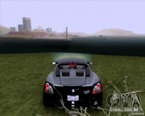 Vauxhall VX220 Turbo para GTA San Andreas traseira esquerda vista
