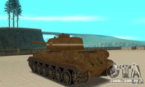 Tanque T-34 para GTA San Andreas traseira esquerda vista