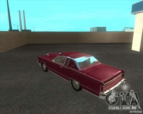 Lincoln Continental Town Coupe 1979 para GTA San Andreas traseira esquerda vista