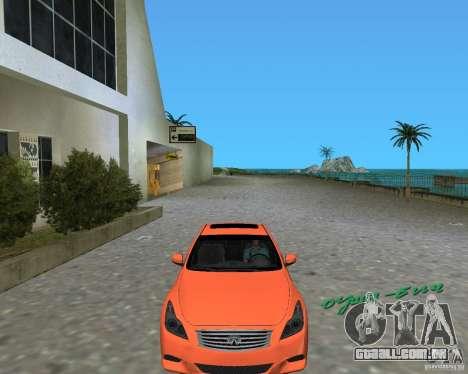 Infinity G37 para GTA Vice City vista traseira esquerda