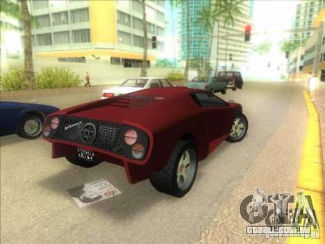 Infernus do GTA IV para GTA Vice City vista traseira esquerda