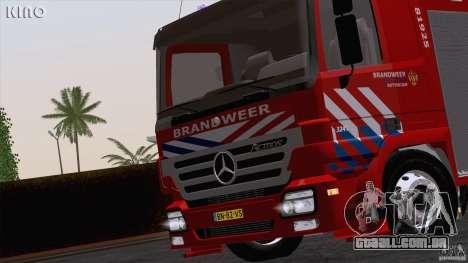 Mercedes-Benz Actros Fire Truck para GTA San Andreas vista traseira