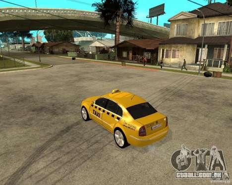 Skoda Superb TAXI cab para GTA San Andreas traseira esquerda vista