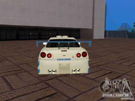 Nissan Skyline GT-R R34 Tunable para GTA San Andreas vista inferior