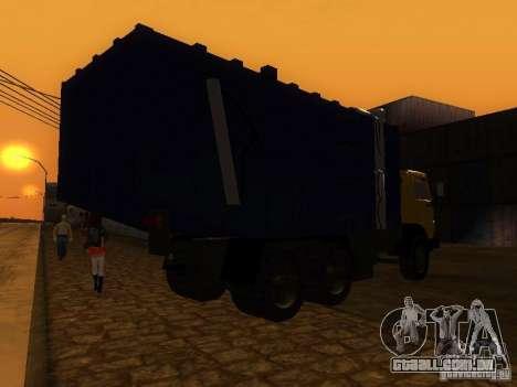 Caminhão de lixo 53212 KAMAZ para GTA San Andreas traseira esquerda vista
