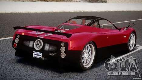 Pagani Zonda F para GTA 4 traseira esquerda vista