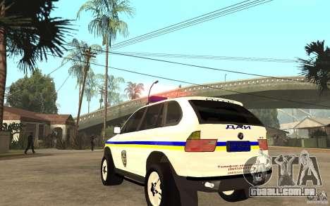 BMW X5 DAÌ para GTA San Andreas traseira esquerda vista