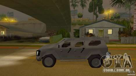 Gurkha LAPV para GTA San Andreas traseira esquerda vista