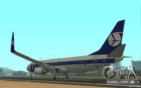 Boeing 737 LOT Polish Airlines para GTA San Andreas traseira esquerda vista