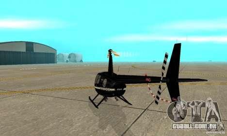 Robinson R44 Raven II NC 1.0 preto para GTA San Andreas vista direita