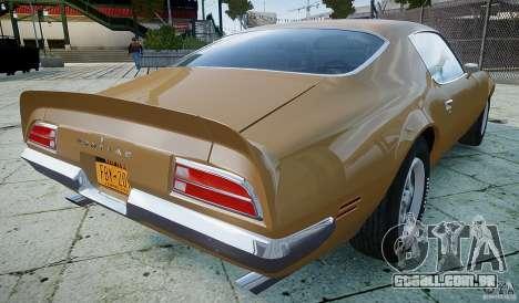 Pontiac Firebird 1970 para GTA 4 traseira esquerda vista