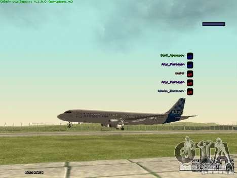 Airbus A320-300 para GTA San Andreas vista direita