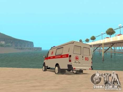 Ambulância de gazela 2705 para GTA San Andreas traseira esquerda vista