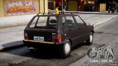 Fiat Uno 70SX 1989-1993 para GTA 4 traseira esquerda vista