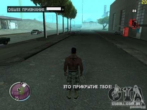 Nova zona GANGSTER para GTA San Andreas quinto tela