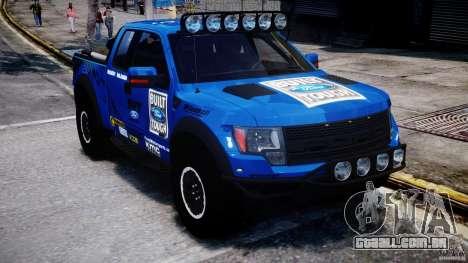 Ford F150 Racing Raptor XT 2011 para GTA 4 vista de volta