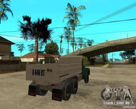 Caminhão ZIL 133 para GTA San Andreas traseira esquerda vista