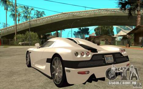 Koenigsegg CCX - Stock para GTA San Andreas traseira esquerda vista