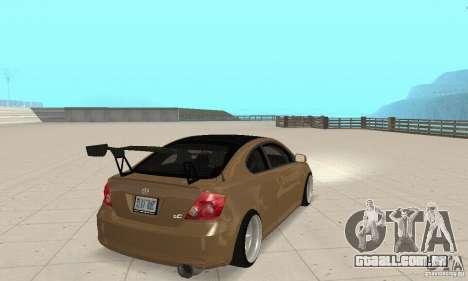 Toyota Scion tC Edited para GTA San Andreas esquerda vista