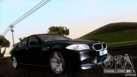 BMW M5 2012 para vista lateral GTA San Andreas