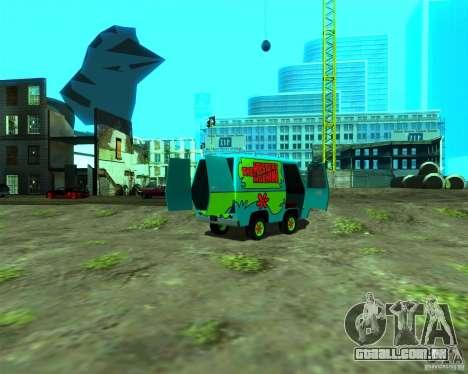 Mystery Machine para GTA San Andreas traseira esquerda vista
