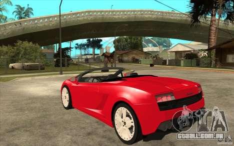 Lamborghini Gallardo LP560 Spider para GTA San Andreas traseira esquerda vista