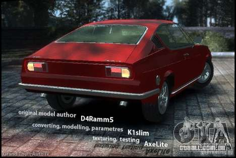 Audi 100 Coupe S 1974 para GTA 4 esquerda vista