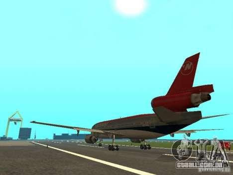 McDonell Douglas DC 10 Nortwest Airlines para GTA San Andreas vista direita