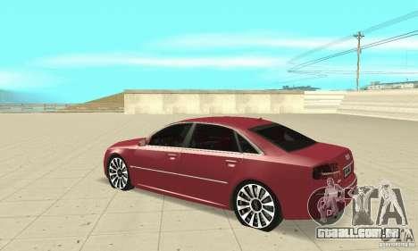Audi A8L 4.2 FSI para GTA San Andreas vista traseira