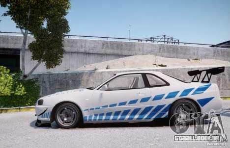 Nissan Skyline GT-R R34 2F2F para GTA 4 esquerda vista