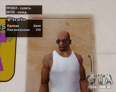 Óculos azuis aviador para GTA San Andreas sexta tela