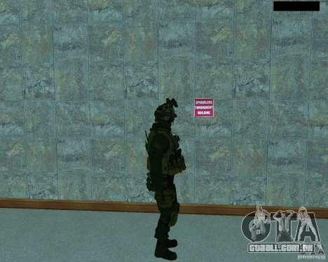 O terceiro soldado da pele Cod MW 2 para GTA San Andreas por diante tela