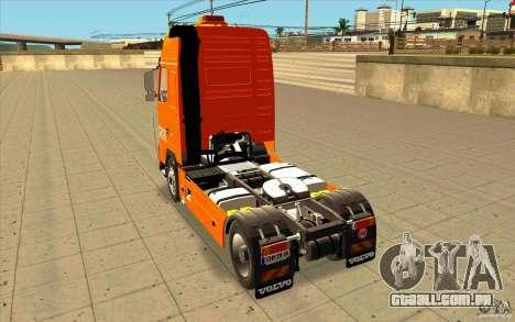 Volvo FH16 Globetrotter TNT para GTA San Andreas traseira esquerda vista