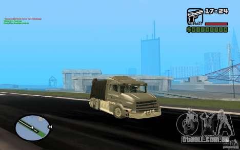 Caminhão de lixo Scania T164 para GTA San Andreas esquerda vista