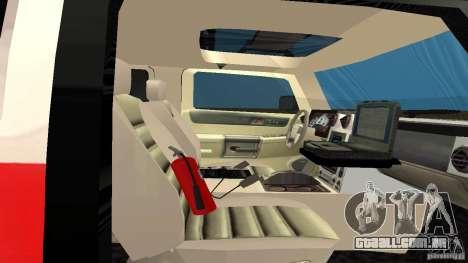 HUMMER H2 Amulance para GTA San Andreas vista traseira