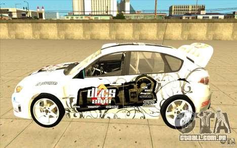 Subaru Impreza WRX STi com novo vinil original para o motor de GTA San Andreas